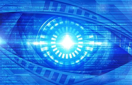 source code: abstract robot eye Stock Photo