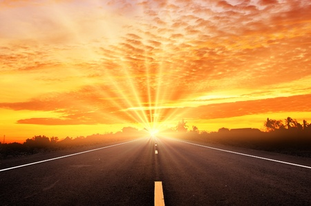 Road and the sunset sky