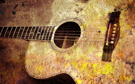 retro music: guitar and old wall
