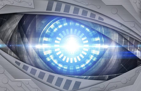 industry electronic: abstract blue robot eye