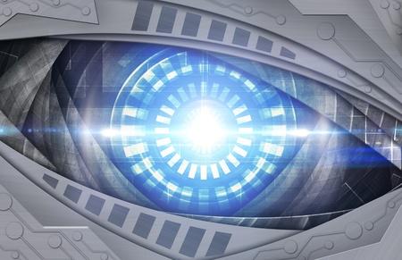 retro robot: abstract blue robot eye