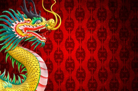 Chinese style dragon statue with Chinese Red pattern photo