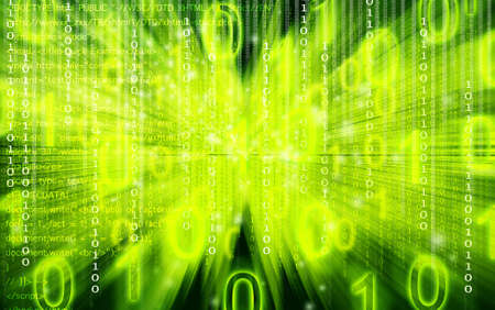 scifi: Binary code flowing over a green background