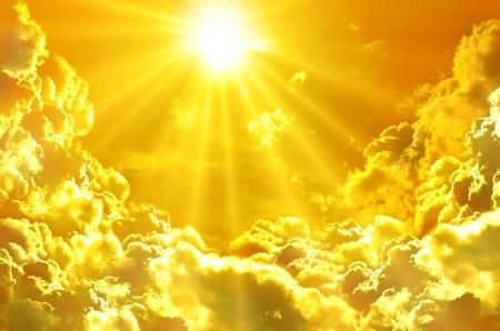 光線、雲と日の出サンセット 写真素材