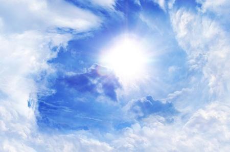 beam of light: blue sky and sun