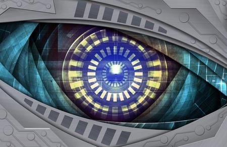 red eye: abstract robot eye Stock Photo