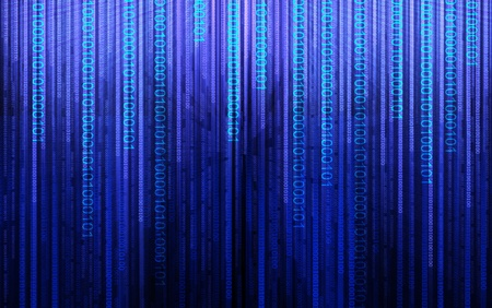 Binary code, data steam, technology background photo