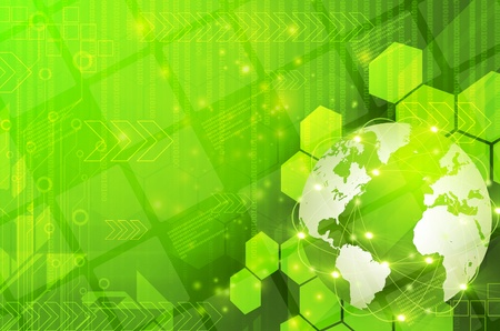 Abstract green world and technology background photo