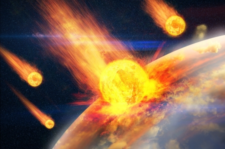 colliding: Global accident - collision of an asteroid with the Earth