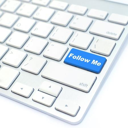 follow me: follow me button Stock Photo