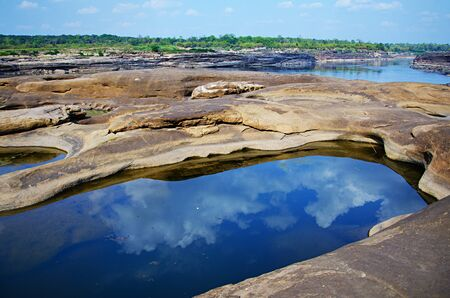 The Amazing of Rock,Natural of Rock Canyon in Khong River after the water come down in Summer ,Three Thousand Hole,North East of Thailand photo