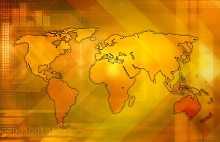 global market: A world map  over a yelloworange background.