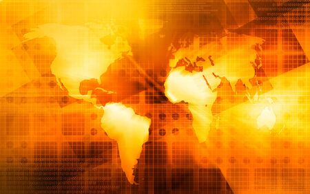 A world map over a yelloworange background photo