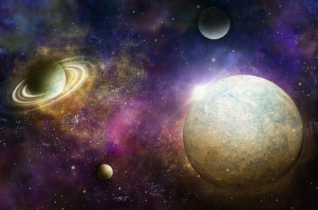 cosmology: planet earth with flare in space Stock Photo