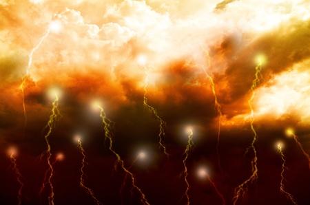 lightnings: Mysterious background - lightnings in dark sky