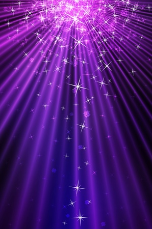 Snow and stars are falling on the background of purple luminous rays photo
