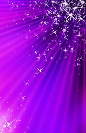 Snow and stars are falling on the background of purple luminous rays