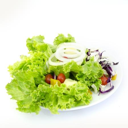 greek food: greek salad isolated on white background