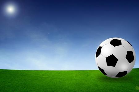 football field soccer stadium on the green grass blue sky  photo