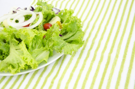 radicchio: Fresh salad is in a dish on a green background Stock Photo