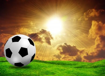cancha deportiva futbol: fútbol campo de fútbol en la hierba verde cielo del atardecer