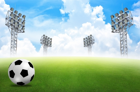 football stadium: football field soccer stadium on the green grass blue sky  Stock Photo