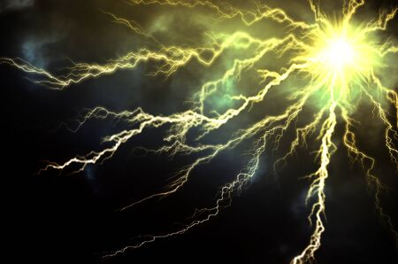 lightnings: dark clouds bringing thunder, lightnings and storm.