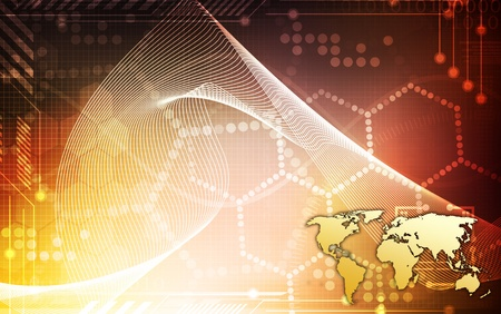communications technology: A world map over a yelloworange background