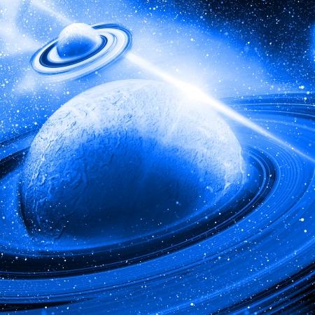 ozon: Planeten mit Sonnenaufgang auf dem Hintergrund der Sterne Lizenzfreie Bilder