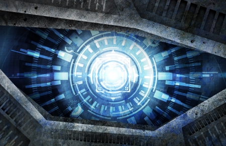 gray eyes: abstract robot eye background