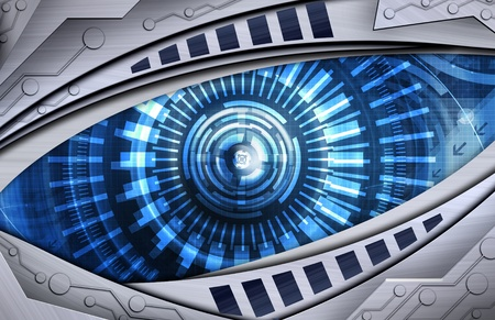 robot: robot abstracto fondo del ojo Foto de archivo