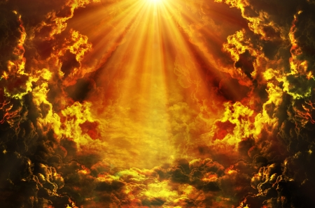 black jesus: dark sky with sun Stock Photo