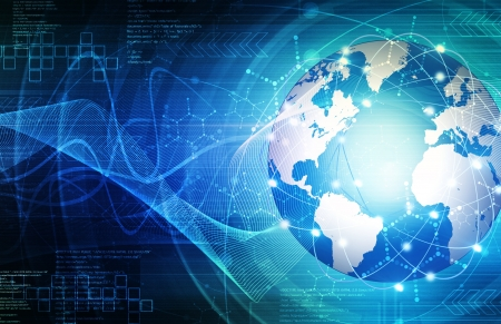 추상 파란색 세계 및 기술 배경