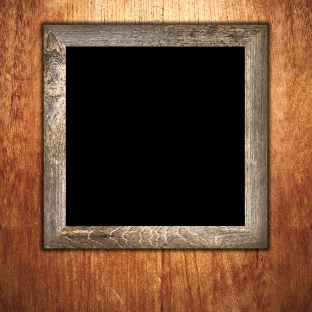 frame wood: Vintage wooden frame on wood background Stock Photo