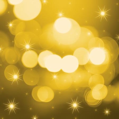unfocused: Golden festive lights background Stock Photo
