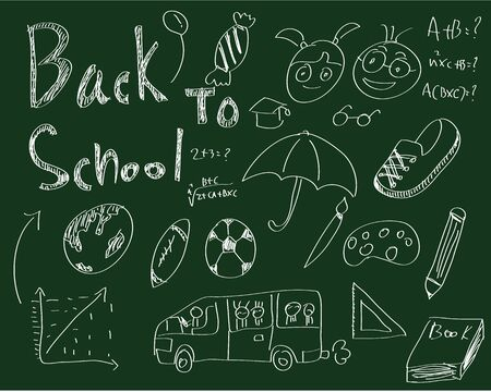 Sketches on blackboard, concept of school photo