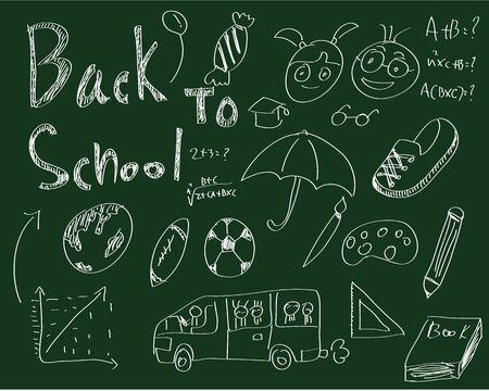 Sketches on blackboard, concept of school photo