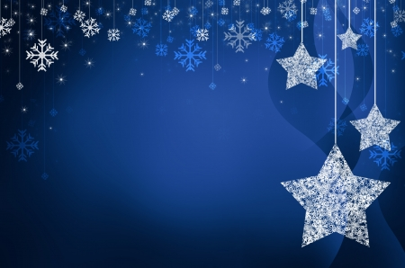 christmas stars: Festive dark blue Christmas background with stars Stock Photo