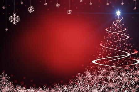 natale: red abstract background with christmas tree