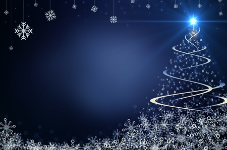 christmas trees: Blue Christmas Background