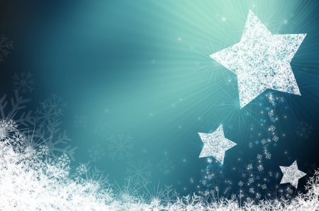 Festive blue Christmas background with stars photo
