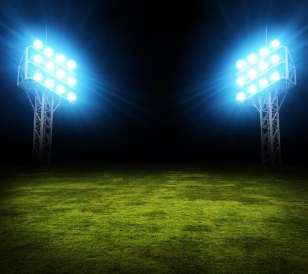 stadium: Green soccer field, bright spotlights, illuminated stadium