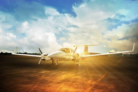 private airplane: White reactive private jet