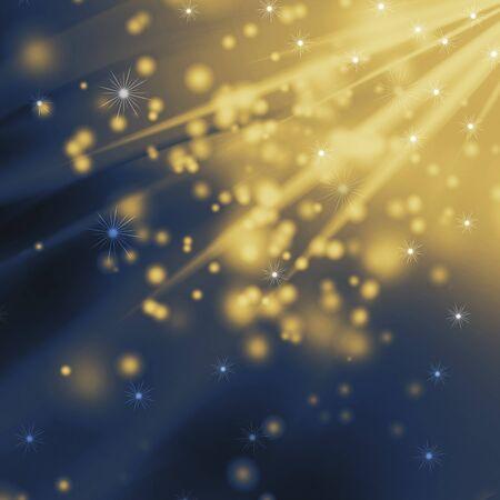 snowflakes and stars descending on golden light photo