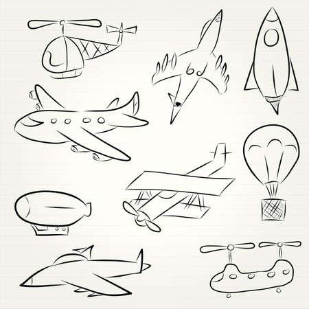 Doodle set of various vehicles photo