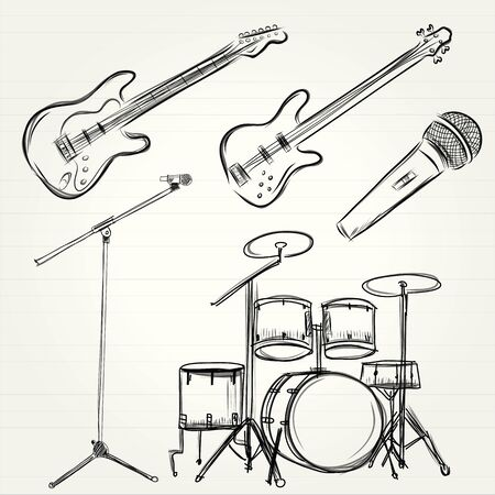 strum: Music Doodle Vector Set Stock Photo