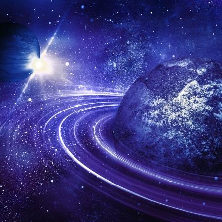 constelacion: planeta con la salida del sol en el fondo de estrellas