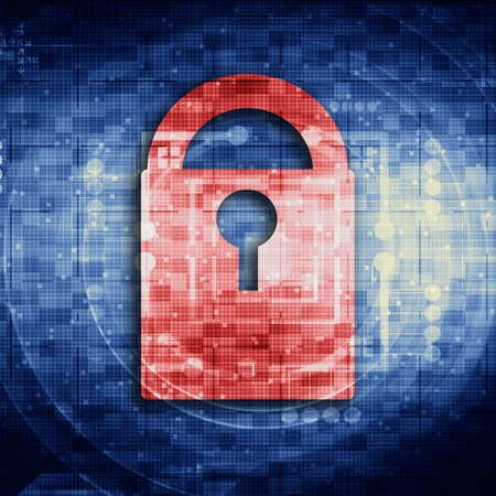 lockout: Lock on digital screen Stock Photo