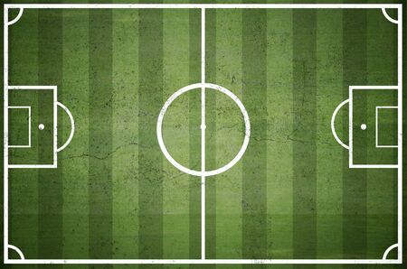 tactic: Soccer field with white lines on grass Stock Photo