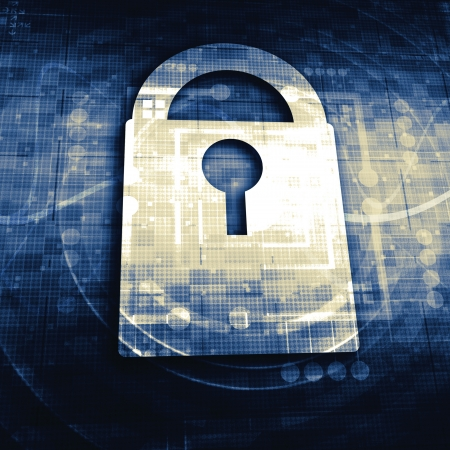 cyber crime: Lock on digital screen Stock Photo